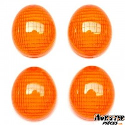 CABOCHON CLIGNOTANT SCOOT ADAPTABLE PEUGEOT 50 LUDIX, TKR FURIOUS, XP6 AV+AR ORANGE (x4)  -SELECTION P2R-