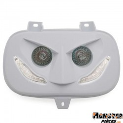 DOUBLE OPTIQUE REPLAY RR8 POUR MBK 50 BOOSTER 1999>2003-YAMAHA 50 BWS 1999>2003 BLANC AVEC LEDS BLANCHES **