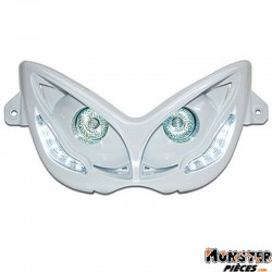 DOUBLE OPTIQUE REPLAY RR8 POUR MBK 50 NITRO 1997>2012-YAMAHA 50 AEROX 1997>2012 BLANC AVEC LEDS BLANCHES