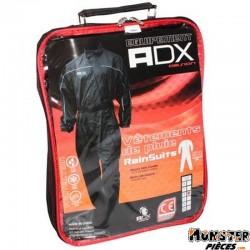COMBINAISON DE PLUIE ADX NOIR XL  (CEINTURE D'AJUSTEMENT + SOUFFLET AVEC ZIP ET PRESSIONS AU PIED + SAC DE TRANSPORT)