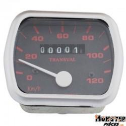 COMPTEUR CYCLO TRANSVAL 120KM-H POUR PEUGEOT 103 VOGUE, MVL 16 POUCES (AVEC DEMULTIPLICATEUR + TRANSMISSION)