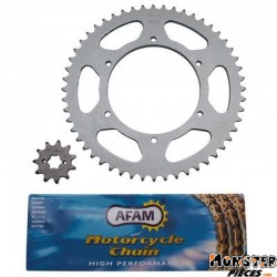 KIT CHAINE ADAPTABLE APRILIA 50 RS 2006->, RS4 2012>  420  11x53 (ALESAGE 108mm) (DEMULTIPLICATION ORIGINE)  -AFAM-