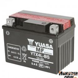 BATTERIE 12V  3 Ah YTX4L-BS YUASA MF SANS ENTRETIEN LIVREE AVEC PACK ACIDE (Lg114xL71xH86)
