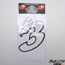 AUTOCOLLANT NUMERO 3 BLANC (H 13cm) (MERYT)