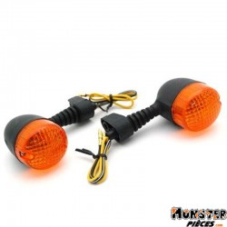 CLIGNOTANT 50 A BOITE ADAPTABLE DERBI 50 SENDA 1995> ORANGE-NOIR (PAIRE)   -SELECTION P2R-