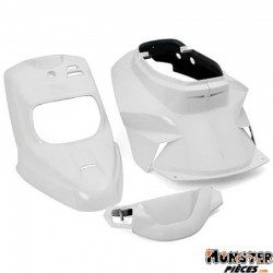 CARROSSERIE SCOOT REPLAY DESIGN POUR MBK 50 BOOSTER 1999>2003-YAMAHA 50 BWS 1999>2003 BLANC BRILLANT (KIT 4 PIECES)
