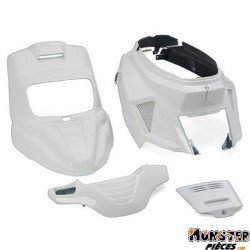 CARROSSERIE SCOOT REPLAY DESIGN POUR MBK 50 BOOSTER 2004>-YAMAHA 50 BWS 2004> BLANC BRILLANT (KIT 7 PIECES)