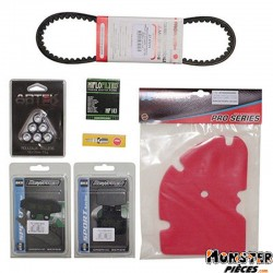 KIT ENTRETIEN MAXISCOOTER ADAPTABLE PIAGGIO 125 X8  -P2R-  (BOUGIE NGK+MOUSSE FILTRE A AIR ARTEIN+COURROIE MITSUBOSHI+GALETS ART