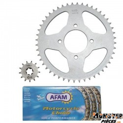 KIT CHAINE ADAPTABLE HYOSUNG 125 AQUILA 2000>2010  428  13x48  (DEMULTIPLICATION ORIGINE)  -AFAM-