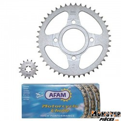 KIT CHAINE ADAPTABLE DAELIM 125 ROADWIN 2004>2010  428  14x45  (DEMULTIPLICATION ORIGINE)  -AFAM-