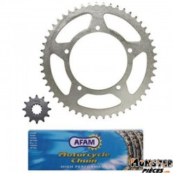 KIT CHAINE ADAPTABLE APRILIA 50 RX 1995>1998  420  12x51 (ALESAGE 105mm) (DEMULTIPLICATION ORIGINE)  -AFAM-
