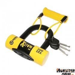 ANTIVOL BLOQUE DISQUE AUVRAY XTREM MINI � 16mm AVEC CORDON DE RAPPEL (CLASSE SRA) (3 CLES)
