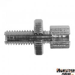 VIS CREUSE TENDEUR DE CABLE CYCLO M6  L18mm  TETE 7x9 AVEC MOLETTE ALU  -DOMINO ORIGINE-