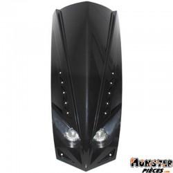 FACE AV SCOOT ADAPTABLE PEUGEOT 50 LUDIX NOIR BRILLANT DOUBLE OPTIQUE AVEC LEDS BLANCHES POUR COMPTEUR TRIANGULAIRE (2x20W + LED