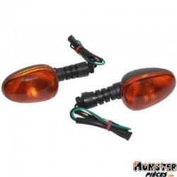 CLIGNOTANT SCOOT ADAPTABLE MALAGUTI 50 F10 2003> AR ORANGE-NOIR (PAIRE) **  -SELECTION P2R-