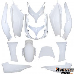 CARROSSERIE-CARENAGE MAXISCOOTER ADAPTABLE YAMAHA 500 TMAX 2001>2007 BLANC BRILLANT (KIT 12 PIECES)