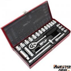 COFFRET DOUILLE 3-8 DE 6 A 22mm + CLIQUET (24 PIECES)  -P2R-