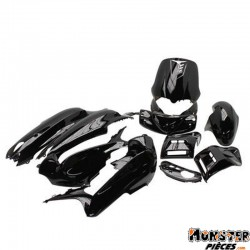 CARROSSERIE-CARENAGE SCOOT ADAPTABLE GILERA 50 RUNNER 1997>2005 NOIR BRILLANT (KIT 12 PIECES)