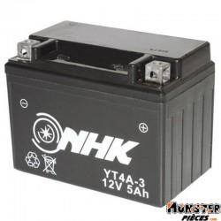 BATTERIE 12V  5 Ah YT4A-3 NHK SANS ENTRETIEN GEL PRET A L'EMPLOI (Lg114xL71xH86)