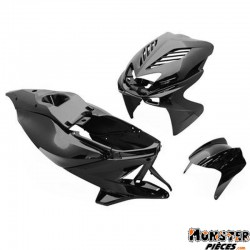 CARROSSERIE SCOOT REPLAY DESIGN POUR MBK 50 NITRO 1997>2012-YAMAHA 50 AEROX 1997>2012 NOIR BRILLANT (KIT 8 PIECES)