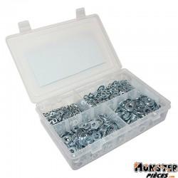 RONDELLE PLATE ACIER DIAM  5 - 6 - 8 - 10 mm ASSORTIMENT (BOITE DE 1550 PIECES)