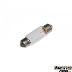 AMPOULE-LAMPE 12V 10W NORME C5W CULOT SV 8.5-11X35 NAVETTE BLANC (FEU DE POSITION) (VENDU A L UNITE)  -FLOSSER-