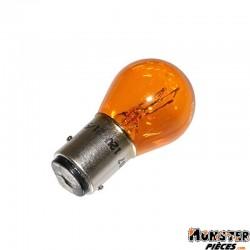 AMPOULE-LAMPE 12V 21-5W NORME P21-5W CULOT BAY15D AMBREE (FEU POSITION + STOP) (VENDU A L'UNITE)  -FLOSSER-