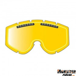 ECRAN LUNETTE-MASQUE CROSS PROGRIP 3256 JAUNE DOUBLE FACES - ANTI-BUEE-ANTI-RAYURES-ANTI-U.V.