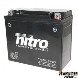 BATTERIE 12V 18Ah YTX20L-BS GEL NITRO SANS ENTRETIEN GEL PRET A L'EMPLOI (Lg175xL87xH155)