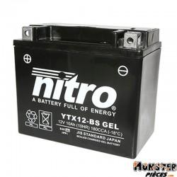 BATTERIE 12V 10Ah YTX12-BS GEL NITRO SANS ENTRETIEN GEL PRET A L'EMPLOI (Lg150xL86xH130)