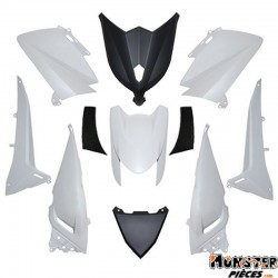 CARROSSERIE-CARENAGE MAXISCOOTER ADAPTABLE YAMAHA 530 TMAX 2012>2014 BLANC BRILLANT-NOIR (KIT 11 PIECES)