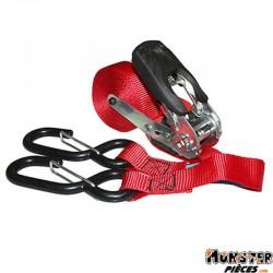 SANGLE MOTO A CLIQUET AVEC 2 CROCHETS EASY RATCHET SYSTEM 25mm x 5,00M (RESISTANCE 260Kg) (VENDU A L'UNITE)