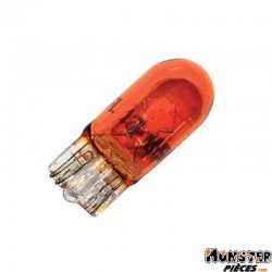 AMPOULE-LAMPE 12V  5W NORME W5W CULOT W2,1x9,5D WEDGE AMBRE (COMPTEUR ET CLIGNOTANTS)  (BOITE DE 10)  -FLOSSER-