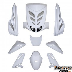 CARROSSERIE SCOOT BCD POUR MBK 50 STUNT-YAMAHA 50 SLIDER BLANC (WHITE OUT, 9 PIECES) **
