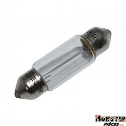 AMPOULE-LAMPE 12V  5W NORME C5W CULOT SV 8.5-11X35 NAVETTE BLANC (FEU DE POSITION) (VENDU A L UNITE)  -FLOSSER-