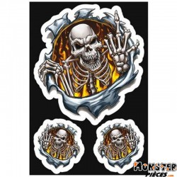 AUTOCOLLANT-DECAL LETHAL THREAT FINGER SKULL (7,5x14cm) (LT55072)