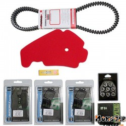 KIT ENTRETIEN MAXISCOOTER ADAPTABLE PIAGGIO 400 MP3 2007>  -P2R-  (BOUGIE NGK+FILTRE A AIR ARTEIN+COURROIE BANDO+ GALETS MALOSSI
