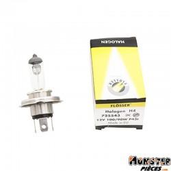 AMPOULE-LAMPE 12V 100-90W NORME H4 CULOT P43T BLANC (PROJECTEUR) (VENDU A L'UNITE)  -FLOSSER-