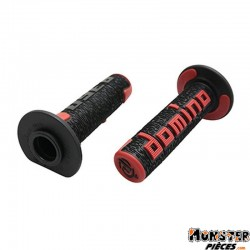 REVETEMENT POIGNEE DOMINO OFF ROAD A360 NOIR-ROUGE (120 mm) (PAIRE)  -DOMINO ORIGINE-