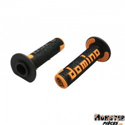 REVETEMENT POIGNEE DOMINO OFF ROAD A360 NOIR-ORANGE (120 mm) (PAIRE)  -DOMINO ORIGINE-