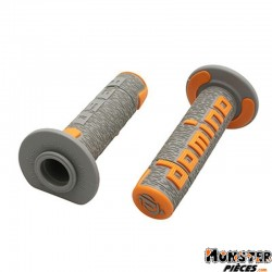 REVETEMENT POIGNEE DOMINO OFF ROAD A360 GRIS-ORANGE (120 mm) (PAIRE)  -DOMINO ORIGINE-