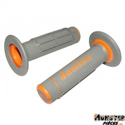 REVETEMENT POIGNEE DOMINO OFF ROAD A02041 GRIS-ORANGE (118mm) (PAIRE)  -DOMINO ORIGINE-