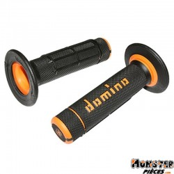 REVETEMENT POIGNEE DOMINO OFF ROAD A02041 NOIR-ORANGE (118mm) (PAIRE)  -DOMINO ORIGINE-