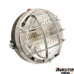 PHARE-PROJECTEUR CYCLO ADAPTABLE PEUGEOT-MBK ROND CHROME AVEC GRILLE (BA20d)  -SELECTION P2R-