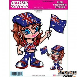 AUTOCOLLANT-DECAL LETHAL THREAT AUSTRALIA GIRL (15x20cm) (LT88414)