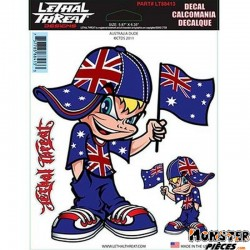 AUTOCOLLANT-DECAL LETHAL THREAT AUSTRALIA DUDE (15x20cm) (LT88413)