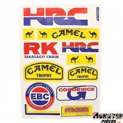 AUTOCOLLANT RACING HRC (1 PLANCHE DE 10 AUTOCOLLANTS - 330mmx220mm)