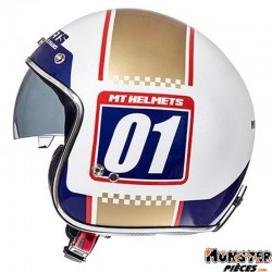 CASQUE JET MT LE MANS SV NUMBERPLATE BLANC PERLE BRILLANT-OR    XS