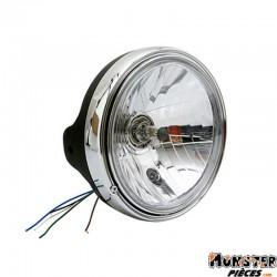 PHARE-OPTIQUE MOTO AVOC TYPE GUZZI DIAM 200 mm CUVELAGE OPTIQUE LISSE �180mm LAMPE H4 60-55W + FEU DE POSITION NOIR SATIN CORPS