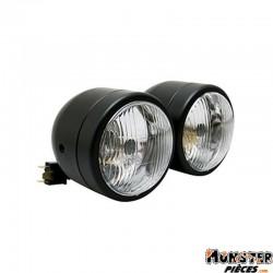 PHARE-OPTIQUE MOTO AVOC DOUBLE DIAM 90 mm LAMPE H4 + FEU DE POSITION NOIR MAT ENTRAXE DE FIXATION 210mm (HOMOLOGUE E)